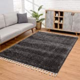 Carpet city alfombra de salón, de pelo largo, color antracita, decoración para dormitorio, suave shaggy con flecos, diseño monocolor, certificado öko-tex 100 standard, apta para alérgicos, 80 x 150 cm