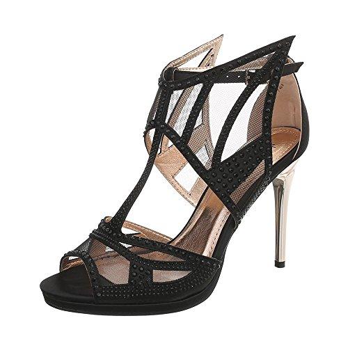 Ital-Design High Heel Sandaletten Damen-Schuhe Pfennig-/Stilettoabsatz Heels Schnalle Sandalen & Schwarz, Gr 41, Gh-263-