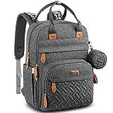 BabbleRoo マザーバッグ ママバッグ リュック大容量 保温ポケット付多機能 防水 旅行用リュックサック(交換パッド、ベビーカーストラップ、おしゃぶりケース、男女兼用) - ダークグレー