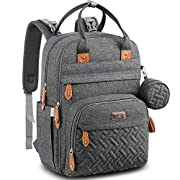 Diaper Bag Backpack, BabbleRoo Baby Nappy Changing Bags Multifunction Waterproof Travel Back Pack with Changing Pad & Stroller Straps & Pacifier Case, Unisex and Stylish (Dark Gray)