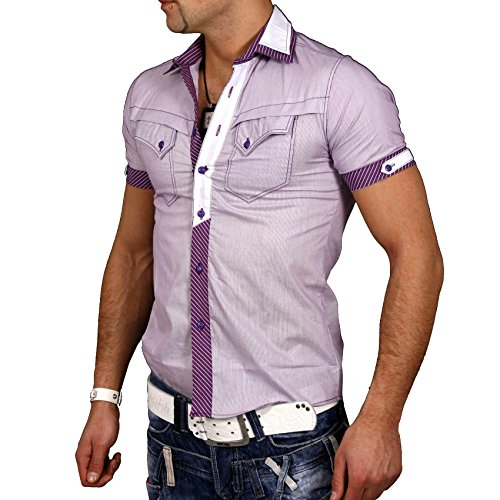 KICKDOWN Herren Poloshirt Japan Style Kurzarm Hemd T-Shirt Blau kd-7202, Farbe:Lila;Größen:L