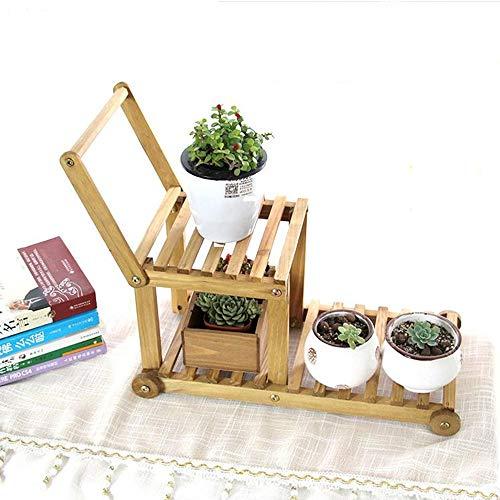 YINUO Bureau en bois massif Support de fleurs Bureau Seuil Mini Stockage Stockage Rack Pot Rack Multi-petit Support À Plantes Couleur du bois Taille: 45x35cm