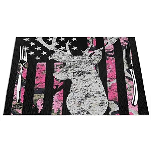 Heat-Resistant Dining Placemats Stain Resistant Washable Tablemats for Kitchen Dining Restaurant, Non Slip Place Mat - 12x18 inch, (Set of 6, American Flag Funny Deer Hunting Pink Camouflage Mats)