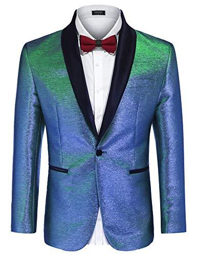 COOFANDY Men's Fashion Suit Jacket Blazer One Button Luxury Weddings Party Dinner Prom Tuxedo Gold Silver (Medium, Shiny Blue)