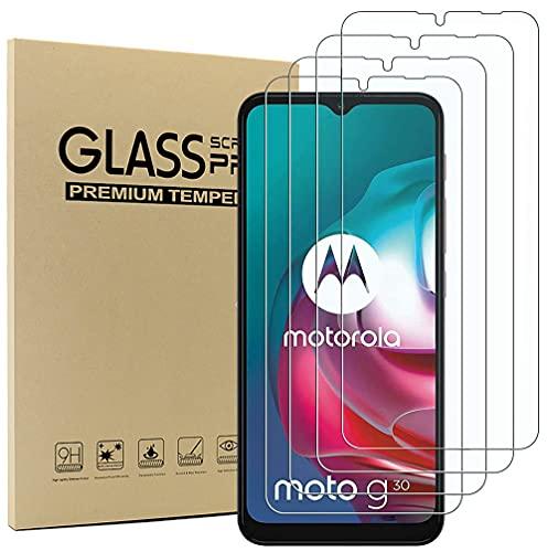Akancy [4 Paquetes Protector de Pantalla de Vidrio Templado para Motorola Moto G10/G30, 2.5D de Alta definición, dureza 9H, sin Burbujas, Protector de Pantalla antiarañazos para