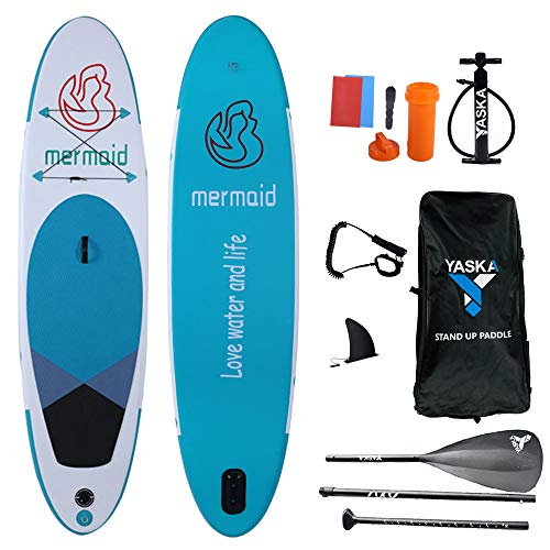 YASKA 10.6ft Allround Inflatable Stand Up Paddle Board, Non-Slip Deck(6 Inches Thick) with Adjustable Paddle,Fin, Leash, Hand Pump, Backpack and Repair Kit