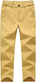 BASADINA Boys Pants 6 Color - Summer Chino Cotton Pants Fitted with Adjustable Waist,4-14 Years Old