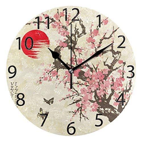 XZ-Sky Orologio da Parete in Acrilico Rotondo Giapponese Sakura Blossom Vintage, Silenzioso Dipinto a Olio Senza ticchettio Orologio Decorativo da Scuola per Ufficio a casa Art