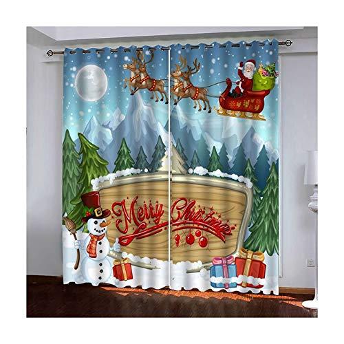 Beydodo Cortina Comedor Poliéster Cortinas Ventana 2 Piezas Dormitorio Ciervos Papá Noel Monigote de Nieve y Árboles Merry Christmas Azul Verde Rojo Cortinas 214x160CM