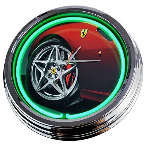Neon Uhr Ferrari Wanduhr Deko-Uhr Leuchtuhr USA 50's Style Retro Neonuhr Esszimmer Küche Wohnzimmer Büro (Grün)