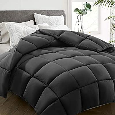 HYLEORY All Season Queen Size Bed Comforter - Cooling Down Alternative Quilted Duvet Insert with Corner Tabs - Winter Warm - Machine Washable - Hypoallergenic - Dark Grey from HYLEORY