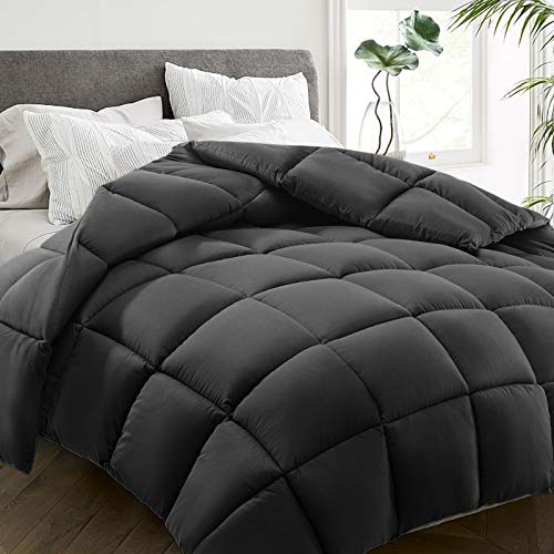 HYLEORY All Season Queen Size Bed Comforter - Cooling Down Alternative Quilted Duvet Insert with Corner Tabs - Winter Warm - Machine Washable - Hypoallergenic - Dark Grey