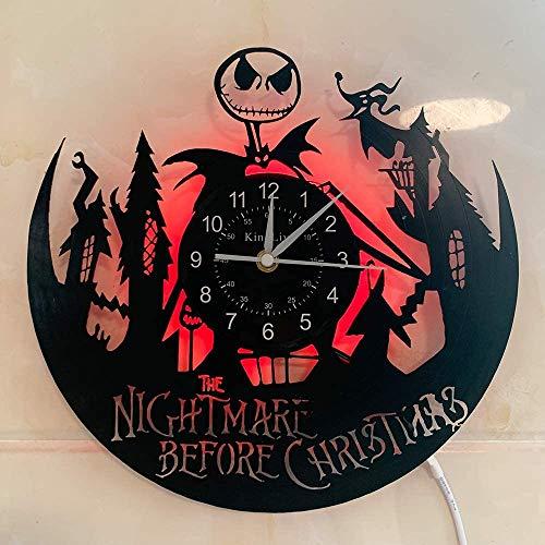 YHMJ Reloj de Pared Discos de Vinilo,Relojes de Pared con temática de Pesadilla Antes de Navidad Hechos a Mano,Reloj Luminoso de 7 Colores,Creativa Amigos,con LED,2