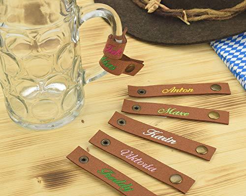 Henkelband 'Name' - Bestickungsfarbe wählbar - Maßkrugmarkierer, Bierkrugband Maßkrugband 1 Stück