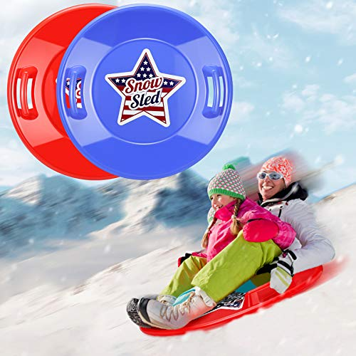 lenbest Snow Sled, 2 Pack 27'' Larger Downhill Sleds for Snow Durable Plastic Saucer Sled Lightweight Flexible Flyer Suitable for 1-2 Person Winter Snow Sleds for Kids and Adult, Blue & Red