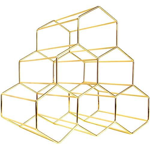 Wijnrek kabinet, Gold Wine Rack, 6 Bottle Vrijstaand Wijnrek, Hexagon Modern Design