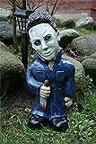 Horrorfilm Gartenzwerge, Albtraum Horror Gnom, Killer Gartenzwerg, gruselige untote Halloween-Skulptur Kampf Gnom Statue für Outdoor Garden Patio (Michael myers)