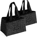 COM-FOUR® 2x Bolso de hombre - bolsa de fieltro para bebidas - bolsa de fieltro para 6 botellas - soporte para 6 botellas de hasta 0,5 L, gris/negro, 23 x 15 x 15 cm (Motivo 3-2 piezas)