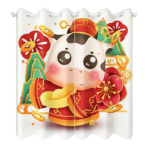 Cartoon New Year Small Cattle Pattern Blackout Short Curtains Fabrics Christmas Decor Roman Rod Curtain For Living Room 336X229Cm