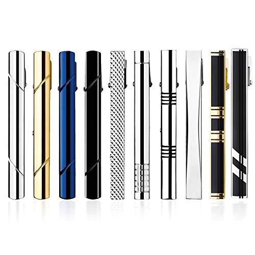 HBselect Krawattenklammer Set aus Kupfer Tie Clips 58mm Krawattennadel verschiedene Formen geeignet für jede Situation mit Geschenkbox klassische Accessoires für Herren (10 pcs Voll)