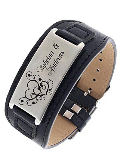 aplusashop ID Leder Armband mit Edelstahlplatte inkl. Gravur nach Wunsch in 3 Farben (Schwarz + Silberne Plate)