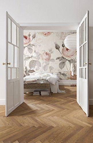 Komar 1–XXL4–034–368x 248cm la maison, diseño floral papel pintado de–(4unidades), color rosa