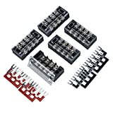 5PCS Set Tablero de cableado de tira de bloque de terminales de barrera de tornillo de doble fila 25A 4 Bloques de terminales de tornillo de interfaz W - Negro y rojo