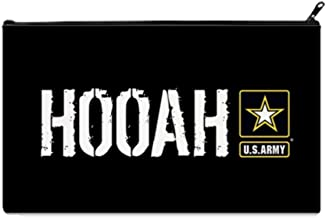 U.S. Army: Hooah (Black) School Pencil Case pencil Bag Zipper Clutch Organizer Purse Bag /Cosmetic Organizer Bag /Toiletry Bag/(Twin sides) 9.0