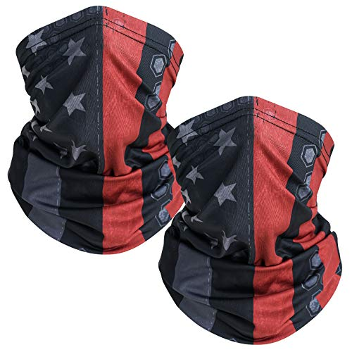 TICONN Neck Gaiter (2 Pack), Outdoor Breathable Face Cover, Ideal for Hiking Running Cycling Motorcycle Ski Snowboard (Patriotic Red, 2)