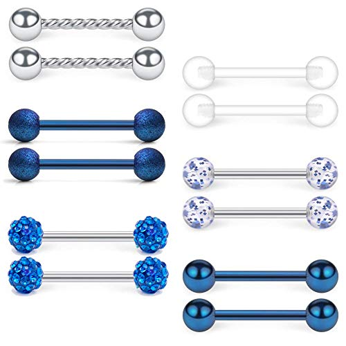 VFUN 14G Acero Inoxidable & Claro Acrylic Piercing Lengua Pezon Anillo Barra Bars Retenedores Joyería Piercing del Cuerpo Hombre Mujer 12 Piezas - Azul