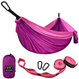 Gold Armour Camping Hammock - USA Brand Single Parachute Hammock (2 Tree Straps 10 Loops/20 ft Included) Lightweight Nylon Portable Adult Kids Best Accessories Gear (Fuchsia / Pink)