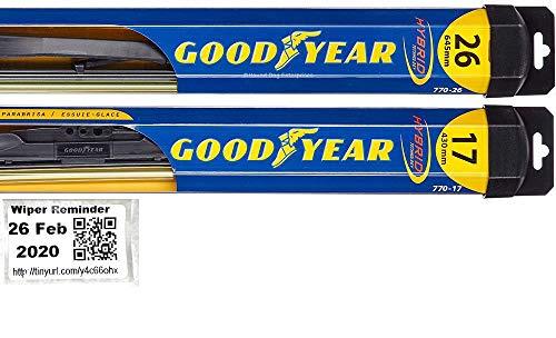 Hybrid - Windshield Wiper Blade Set/Kit/Bundle for 2014-2018 Infiniti QX60 - Driver & Passenger Blades & Reminder Sticker