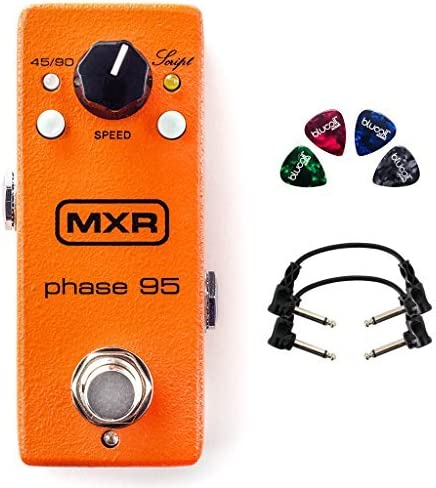 wholesale MXR M290 popular Phase 95 Mini Effects Pedal for wholesale Electric Guitars Bundle with 9V Adapter, Blucoil 10-FT Straight Instrument Cable (1/4in), 2-Pack of Pedal Patch Cables, and 4-Pack of Celluloid Guitar Picks online sale