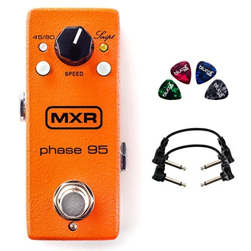 MXR M290 Phase 95 Mini Effects Pedal for Electric Guitars Bundle with 9V Adapter, Blucoil 10-FT Straight Instrument Cable (1/4in), 2-Pack of Pedal Patch Cables, and 4-Pack of Celluloid Guitar Picks