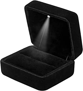 GBYAN Velvet Ring Box with LED Light Jewelry Display Gift Box for Proposal,Engagement, Wedding (Black)