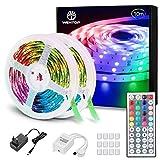 WenTop Led Strip 10m, LED Band mit IR Fernbedienung, SMD 5050 RGB LED Streifen, für Schlafzimmer, Decke, Party, Beleuchtung und Dekorative(2 X 5m)