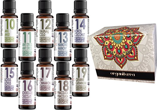 Set di 10 Oli profumati per l'aromaterapia Aromatherapy Essentials. Anis, Anti Estress, Frio, Harmonia, Coco, Fiore di Loto, Cioccolato, Cannella, pinacolada, Geranio