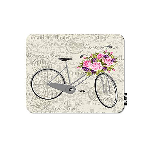 oFloral Gray Bicycle Gaming Mouse Pad Pink Garden Flowers Brach Vintage Postcard Background Decorative Mousepad Rubber Base Home Decor for Computers Laptop Office Home 7.9X9.5 Inch
