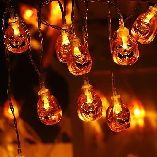 Cadena de luces de calabaza de Halloween de 10 pies de 20 luces LED de calabaza, luces decorativas al aire libre de cuerda para patio, jardín, puerta, patio, decoración de Navidad de Halloween