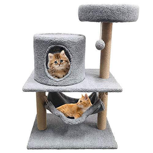 Macallen Alberi Tiragraffi per Gatti Gatto Gioco, Montare Il Piccolo Centro attività Sisal Cat Cucce per Gatti con Condominio, Amaca, Piattaforme, Palla Sospesa(60 x 40 x 91 cm)