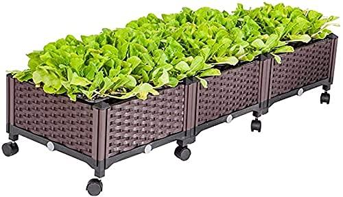 Planter upphöjda sängar trädgårdssäng fyrkantig trädgård planterings krukor kit med hjul plast upphöjd trädgård sänglåda för växter blommor grönsaksträd plantor trädgårdssäng (storlek: 80x40x
