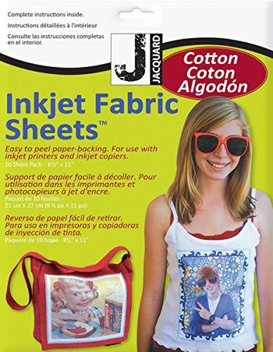 Jacquard Lot de 10 Feuilles de Tissu 100 % Coton Percale à Imprimer 21 x 27 cm