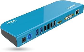 WAVLINK USB 3.0 Universal Laptop Docking Station Dual Video Monitor Display HDMI & DVI/VGA, Gigabit Ethernet, Audio, 6 USB Ports for Laptop, Ultrabook and PCs-Blue
