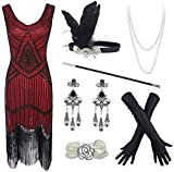 20s Flapper Gatsby Sequin Beaded Evening Cocktail Dress with Accessories Set (X-Large, Wine)