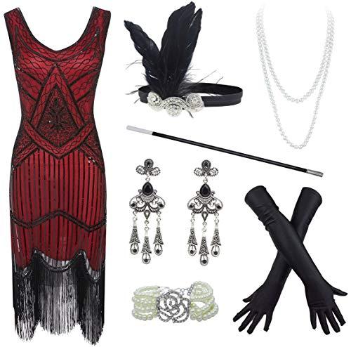 FUNDAISY 20s Flapper Gatsby - Vestido de cctel con Cuentas de Lentejuelas y Accesorios - Morado - XXXL