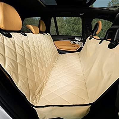 Plush Paws Products Hammock Car Seat Cover with Pet Harnesses, Extra Large (Tan)