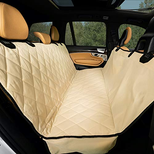 Plush Paws Products Hammock Waterproof Luxury Car Seat Cover with Pet Harnesses, Regular (Tan) -USA Based