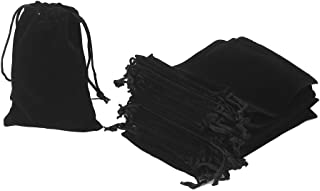 HRX Package 20pcs Velvet Drawstring Bags, 4.7 X 7 inches Velvet Pouches for Jewelry Gift Packaging (Black)