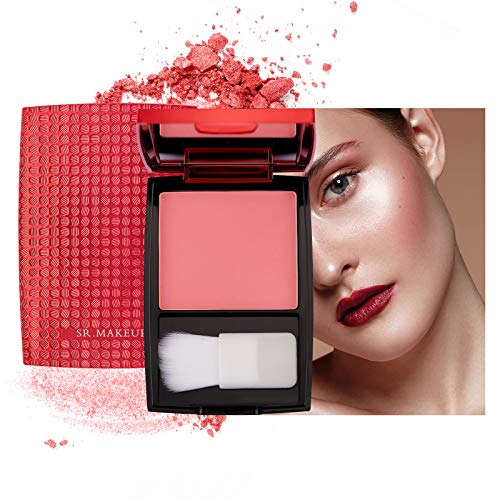 Mimore Blush Monochrome Matte Rouge Makeup, Professionelle Kosmetik Silky Contour Cheek Rouge Palette Long Lasting Matte Rouge mit Pinsel und Make-up-Spiegel (02) …