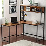 Tribesigns L-shaped Desk with Hutch,55' Corner Computer Desk Gaming Table Workstation with Storage Bookshelf for Home Office,Vintage Walnut
